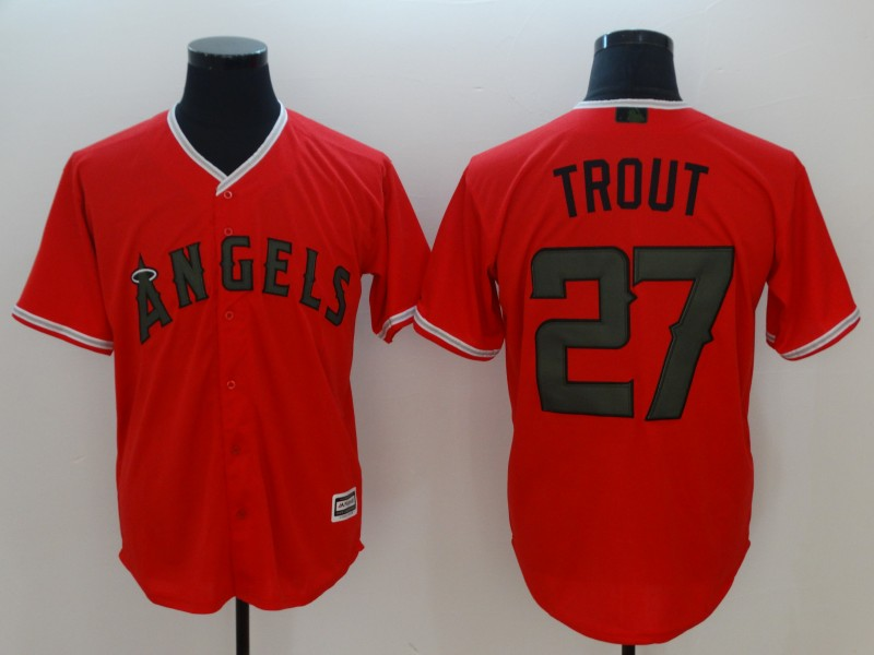 Men Los Angeles Angels 27 Trout Orange Game MLB Jerseys