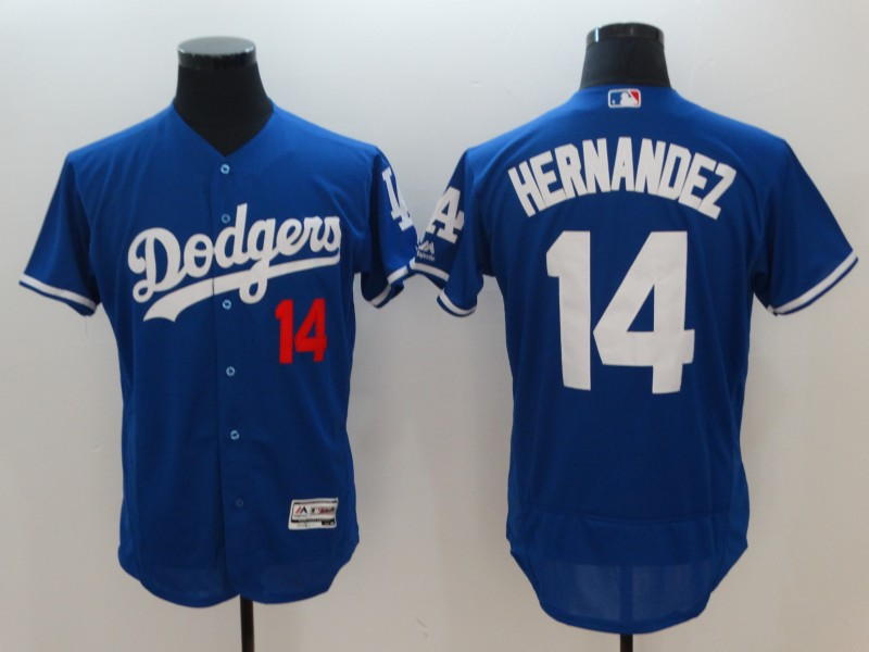 Men Los Angeles Dodgers 14 Hernandez Blue Elite MLB Jerseys