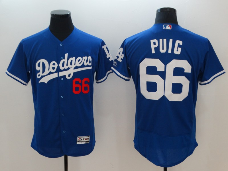 Men Los Angeles Dodgers 66 Puig Blue Elite MLB Jerseys