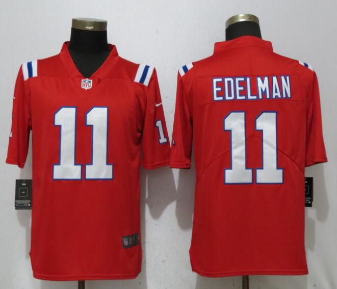 Men New England Patriots 11 Edelman Red Vapor Untouchable Player Nike Limited NFL Jerseys