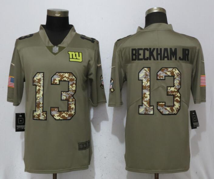 Men New York Giants 13 Beckham jr Olive Camo Carson Salute to Service Nike Limited NFL Jerseys