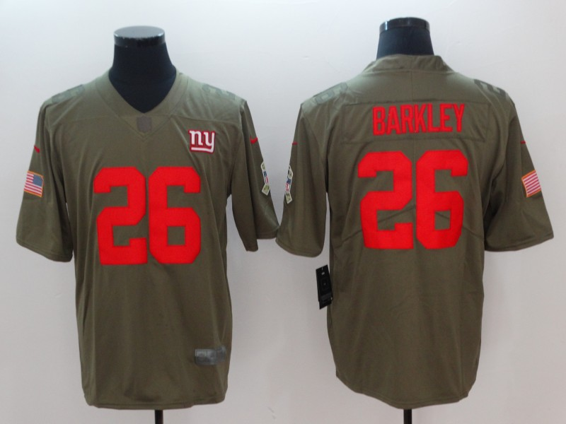 Men New York Giants 26 Barkley Olive Salute To Service Limited NFL Jerseys