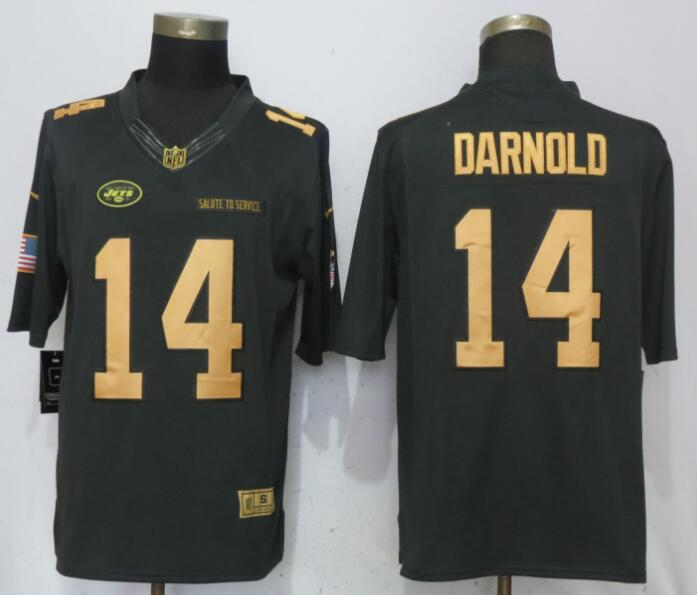 Men New York Jets 14 Darnold Gold Anthracite Salute To Service Nike Limited NFL Jerseys