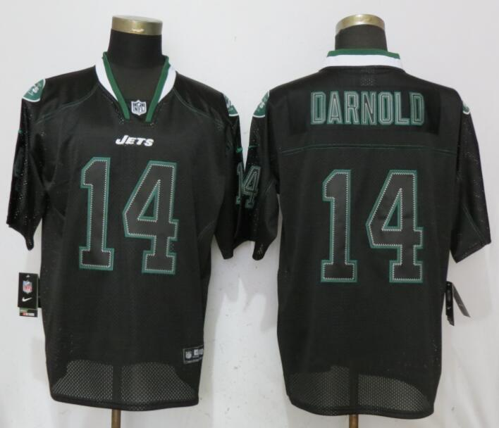 Men New York Jets 14 Darnold Lights Out Black Elite Nike NFL Jerseys
