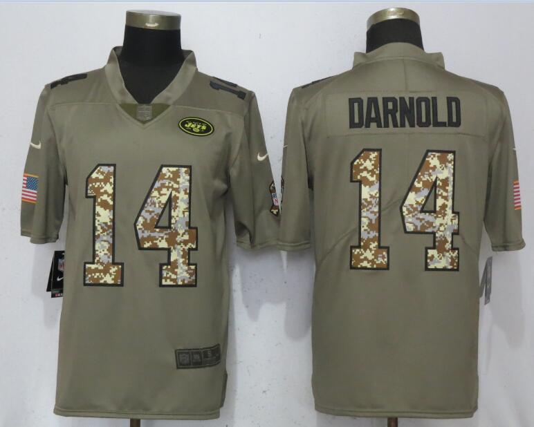 Men New York Jets 14 Darnold Olive Camo Carson Salute to Service Nike Limited NFL Jerseys