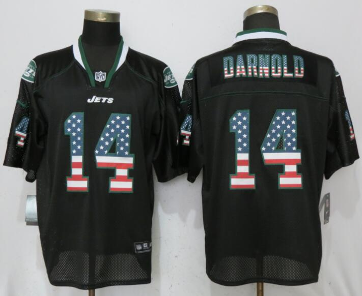 Men New York Jets 14 Darnold USA Flag Fashion Black Elite Nike NFL Jerseys