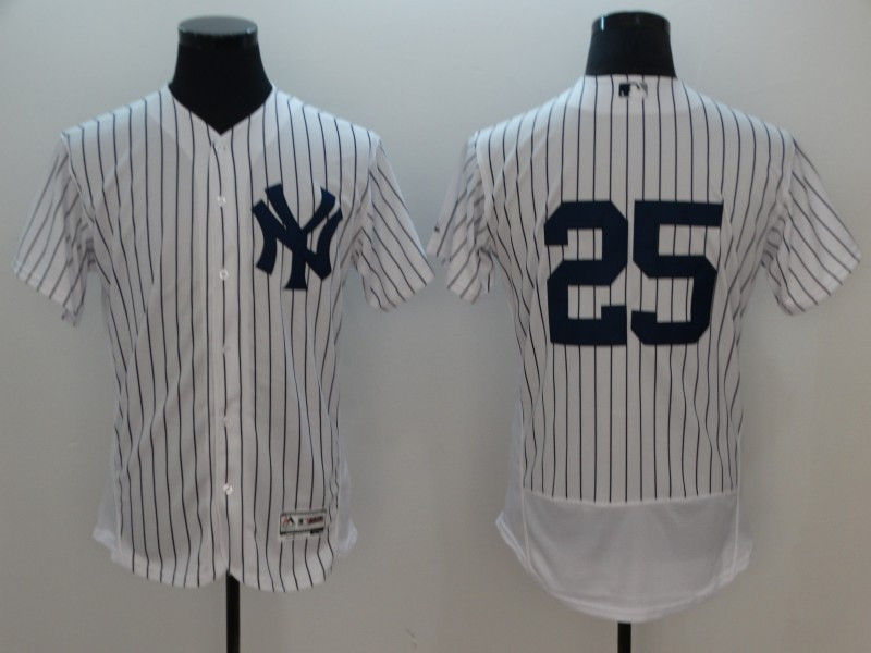 Men New York Yankees 25 No Name White Elite MLB Jerseys