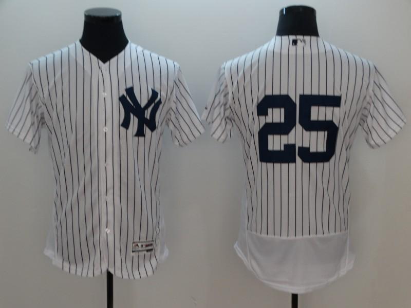 a65fcf311 Men New York Yankees 25 No Name White Elite MLB Jerseys ...