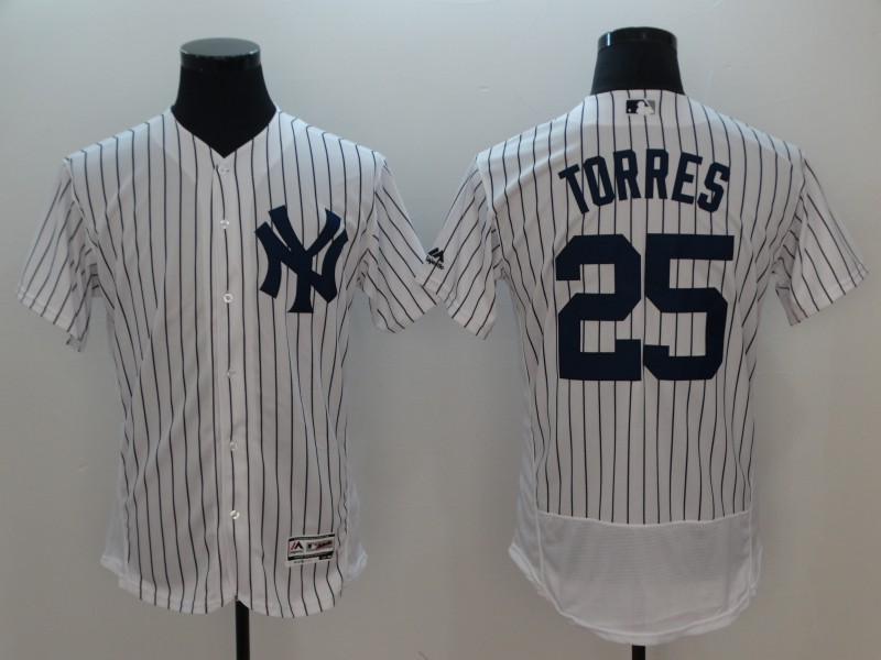 Men New York Yankees 25 Torres White Elite MLB Jerseys
