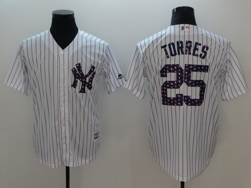 Men New York Yankees 25 Torres White Independent version Game MLB Jerseys