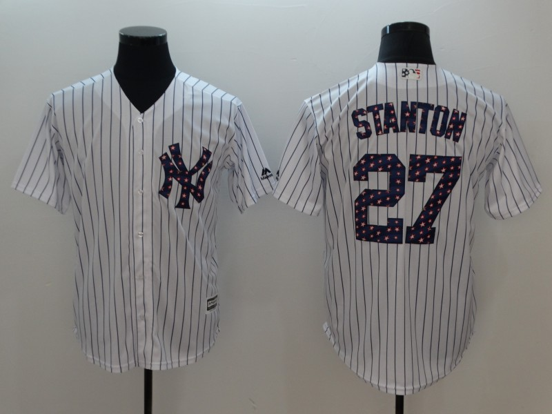 Men New York Yankees 27 Stanton White Independent version Game MLB Jerseys