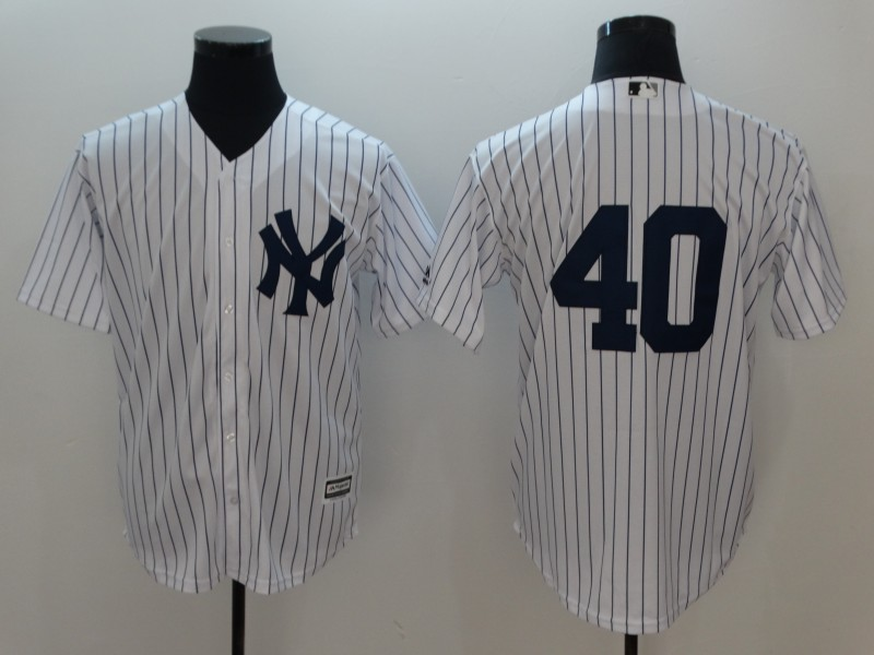 Men New York Yankees 40 No Name Game White MLB Jerseys