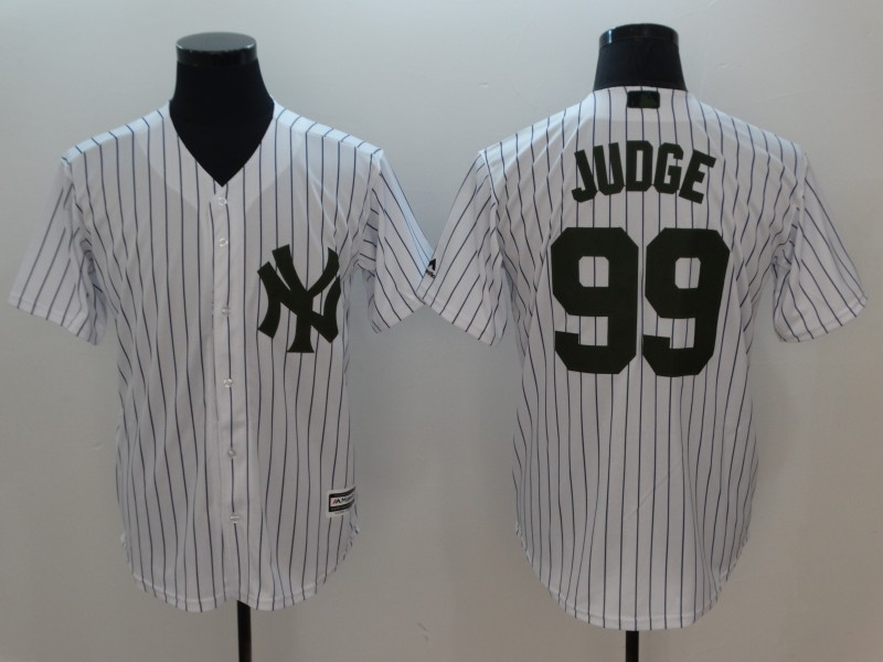 Men New York Yankees 99 Judge White Commemorative Edition Game MLB Jerseys