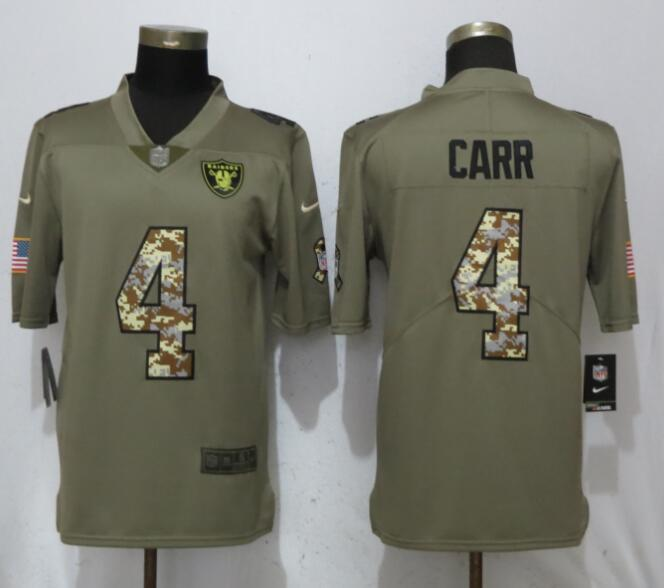 Men Oakland Raiders 4 Carr Olive Camo Carson Salute to Service Nike Limited NFL Jerseys