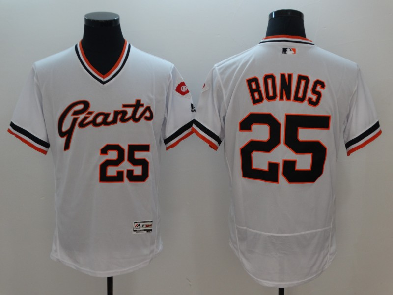 Men San Francisco Giants 25 Bonds White Elite Throwback MLB Jerseys