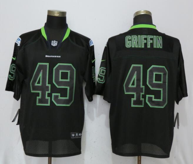 Men Seattle Seahawks 49 Griffin Lights Out Black Elite Nike NFL Jerseys