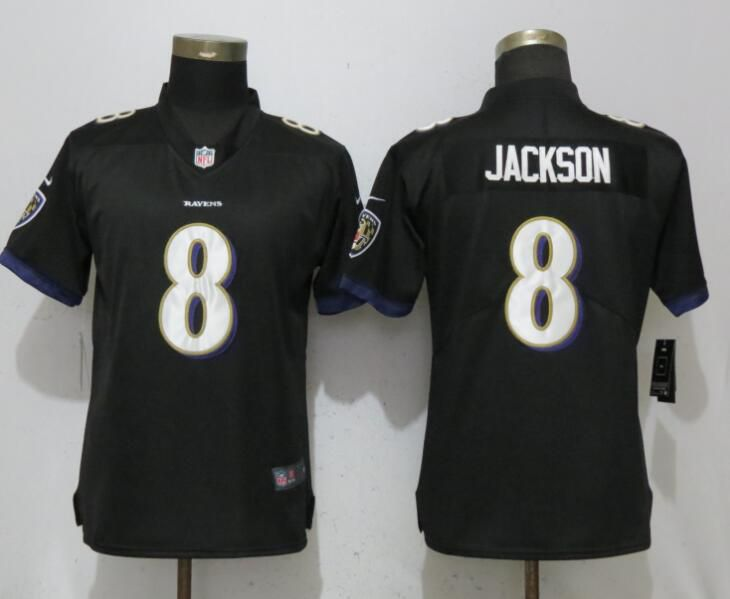 Women Baltimore Ravens 8 Jackson Black Vapor Untouchable Player Nike Limited NFL Jerseys