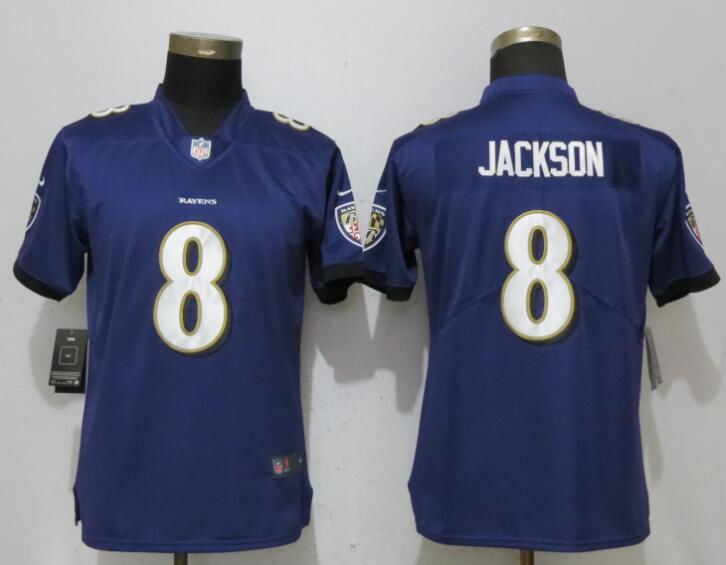 Women Baltimore Ravens 8 Jackson Purple Vapor Untouchable Player Nike Limited NFL Jerseys