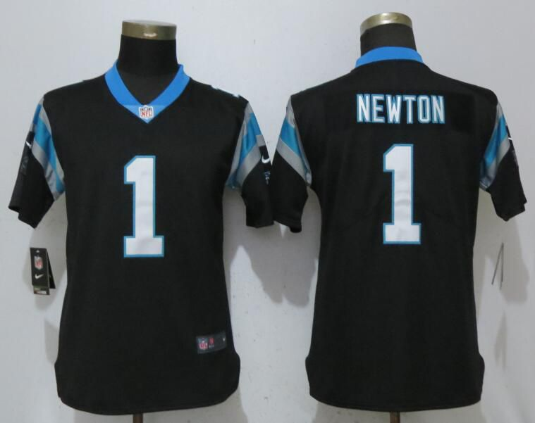 Women Carolina Panthers 1 Newton Black Vapor Untouchable Player Nike Limited NFL Jerseys