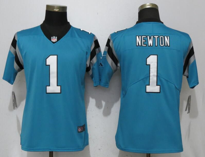 Women Carolina Panthers 1 Newton Blue Vapor Untouchable Player Nike Limited NFL Jerseys