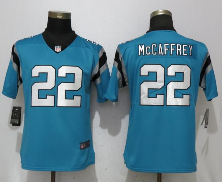 Women Carolina Panthers 22 McCaffrey Blue Vapor Untouchable Player Nike Limited NFL Jerseys