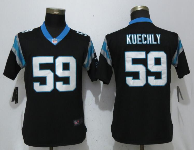 Women Carolina Panthers 59 Kuechly Black Vapor Untouchable Player Nike Limited NFL Jerseys