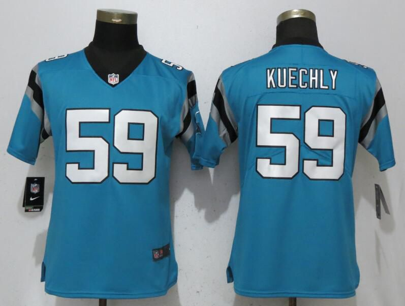 Women Carolina Panthers 59 Kuechly Blue Vapor Untouchable Player Nike Limited NFL Jerseys