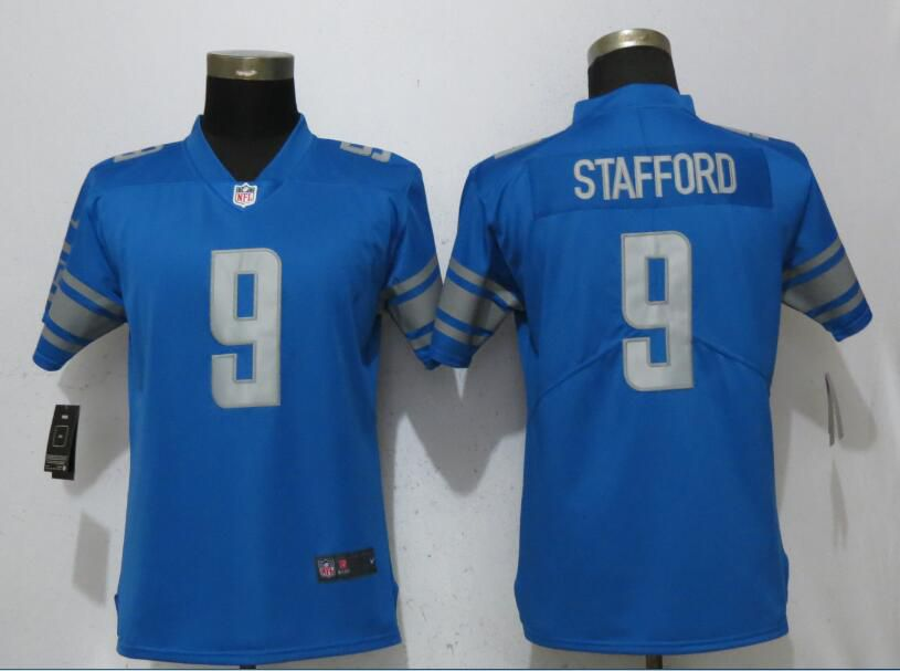 Women Detroit Lions 9 Stafford Blue Vapor Untouchable Player Nike Limited NFL Jerseys