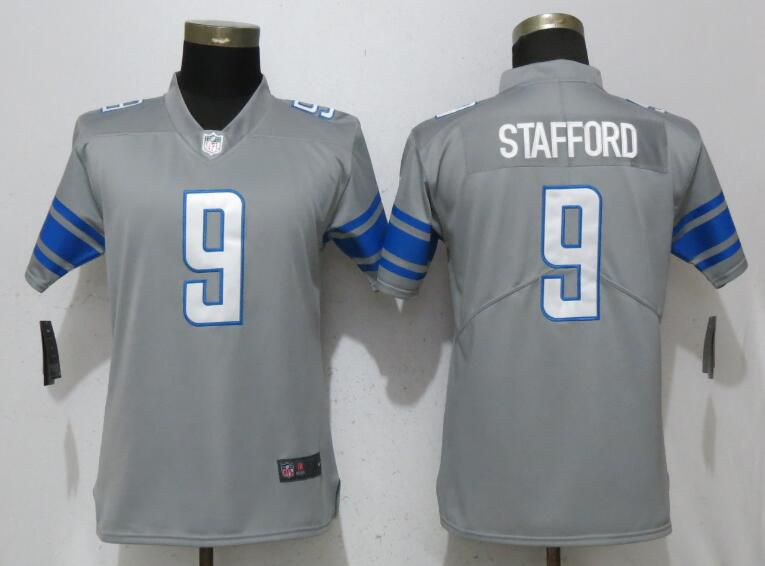 Women Detroit Lions 9 Stafford Gray Vapor Untouchable Player Nike Limited NFL Jerseys