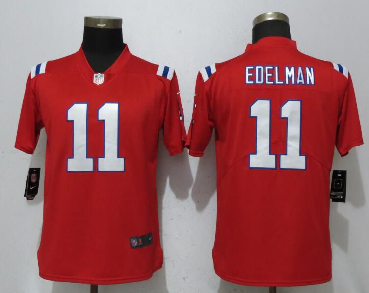 Women New England Patriots 11 Edelman Red Vapor Untouchable Player Nike Limited NFL Jerseys