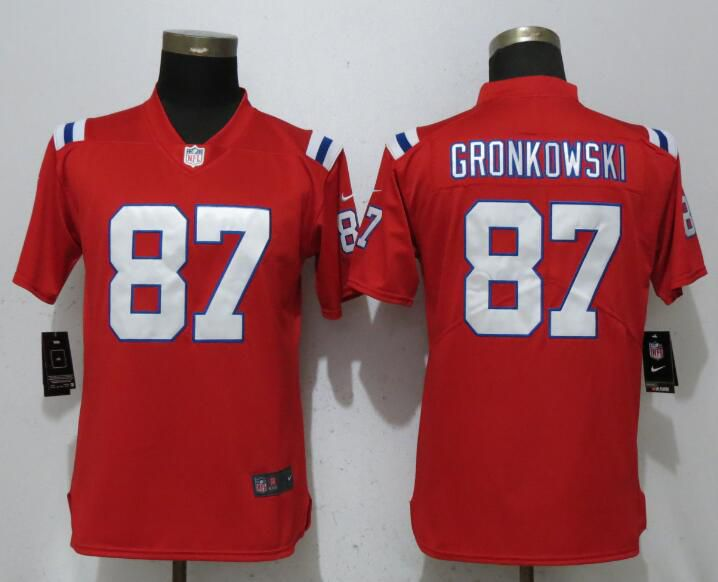 Women New England Patriots 87 Gronkowski Red Vapor Untouchable Player Nike Limited NFL Jerseys