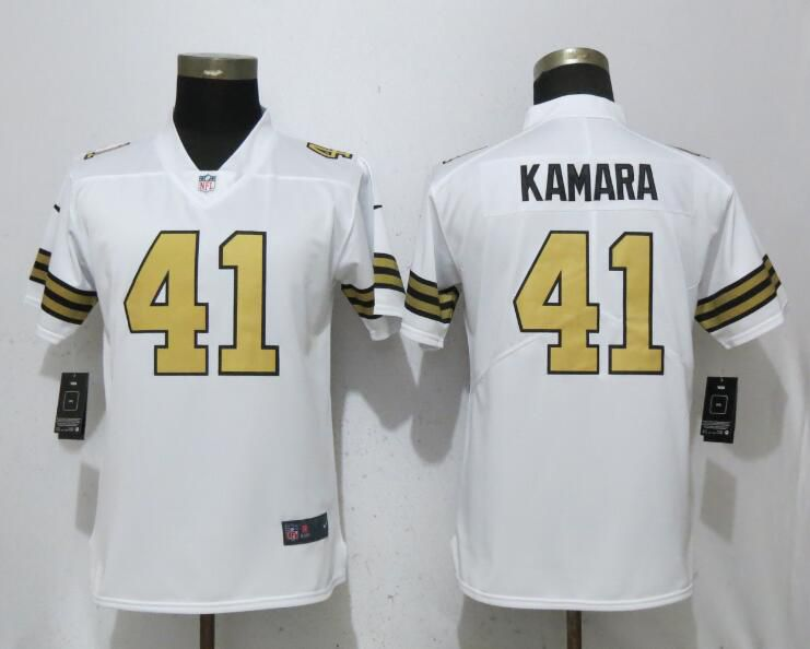 Women New Orleans Saints 41 Kamara Navy White Color Rush Player Nike Limited NFL Jerseys