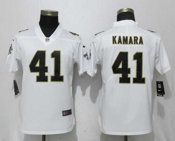 Women New Orleans Saints 41 Kamara White Vapor Untouchable Player Nike Limited NFL Jerseys