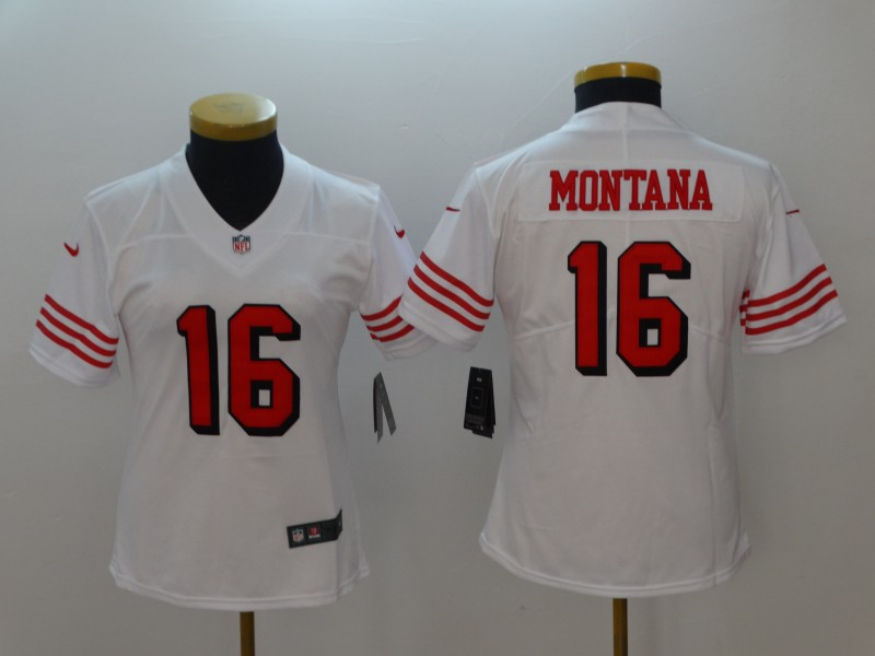 Women San Francisco 49ers 16 Montana White Color Rush Nike Vapor Untouchable Limited Playe NFL Jerseys
