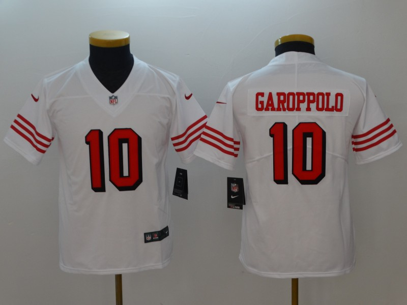 Youth San Francisco 49ers 10 Garoppolo White Color Rush Nike Vapor Untouchable Limited Playe NFL Jerseys