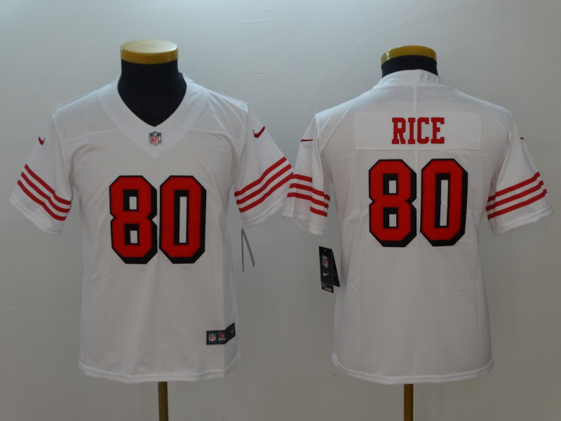 Youth San Francisco 49ers 80 Rice White Color Rush Nike Vapor Untouchable Limited Playe NFL Jerseys