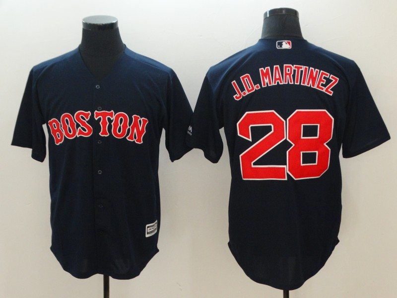 2018 Men Boston Red Sox 28 J.D.Martinez blue game jerseys