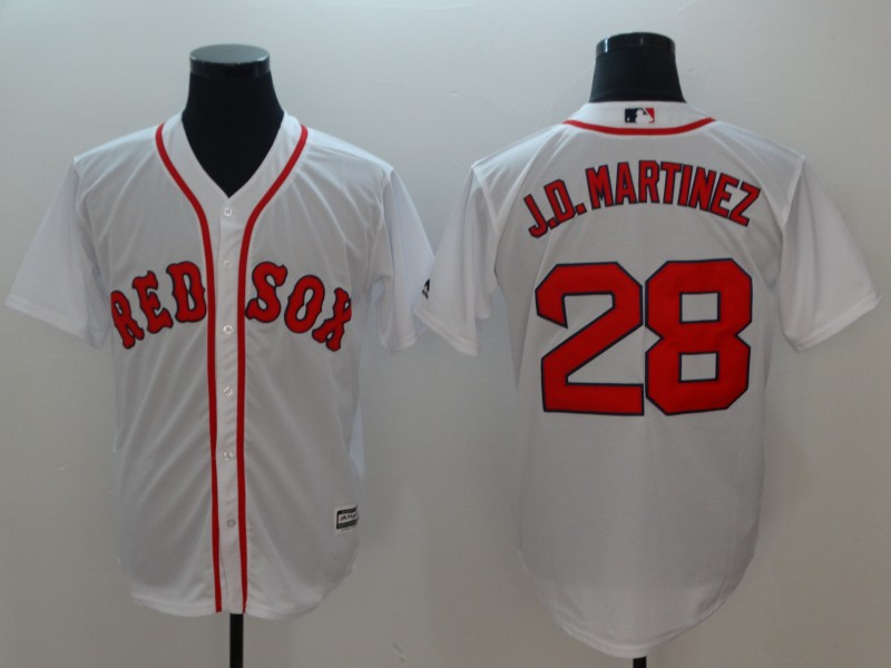 2018 Men Boston Red Sox 28 J.D.Martinez white game jerseys