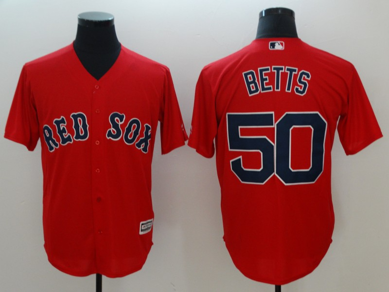 2018 Men Boston Red Sox 50 Mookie Betts red game jerseys