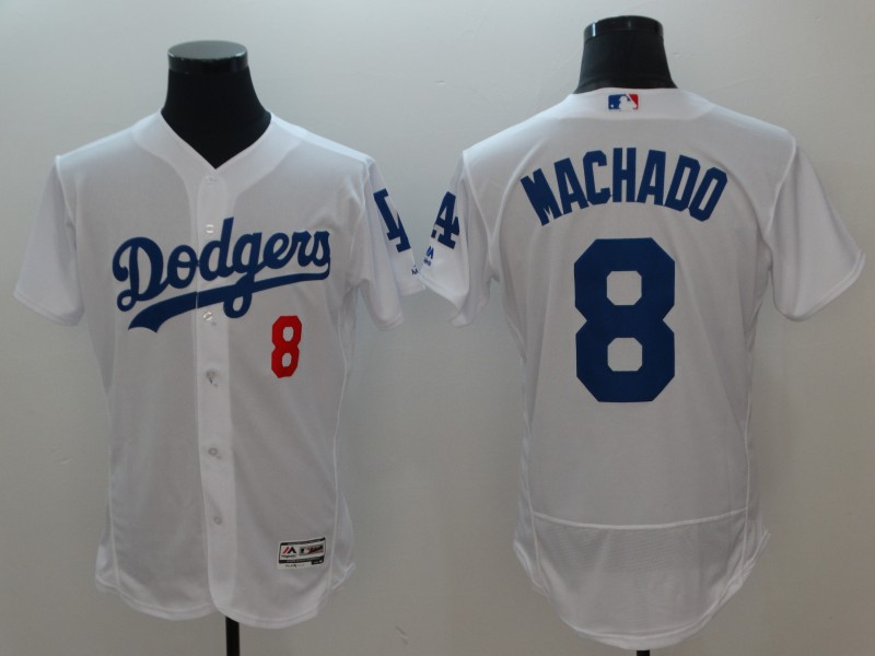2018 Men Los Angeles Dodgers 8 Machado white jerseys
