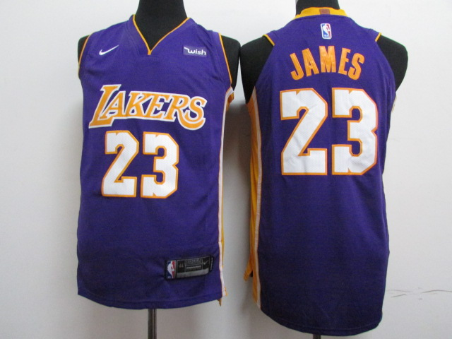 2018 Men Los Angeles Lakers 23 James purple Game Nike NBA Jerseys