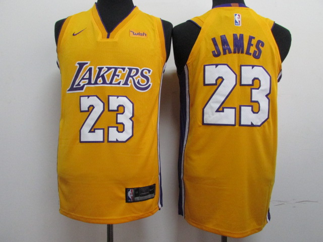 2018 Men Los Angeles Lakers 23 James yellow Game Nike NBA Jerseys
