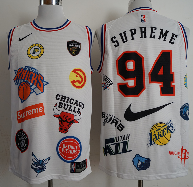 2018 Men Los Angeles Lakers Supreme x Nike x NBA 94 White jerseys