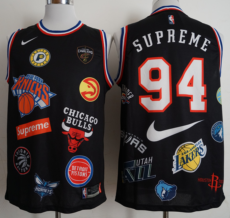 2018 Men Los Angeles Lakers Supreme x Nike x NBA 94 black jerseys