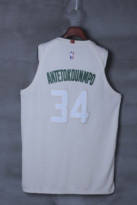 2018 Men Milwaukee Bucks 34 Antetokounmp Cream city edition Nike NBA Jerseys