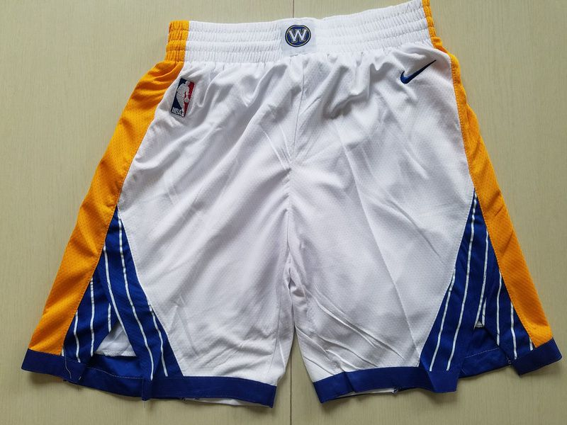 2018 Men NBA Nike Golden State Warriors white shorts1