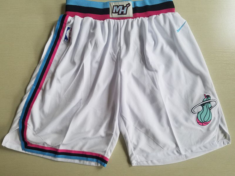 2018 Men NBA Nike Miami Heat white shorts