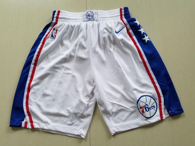 2018 Men NBA Nike Philadelphia 76ers white shorts