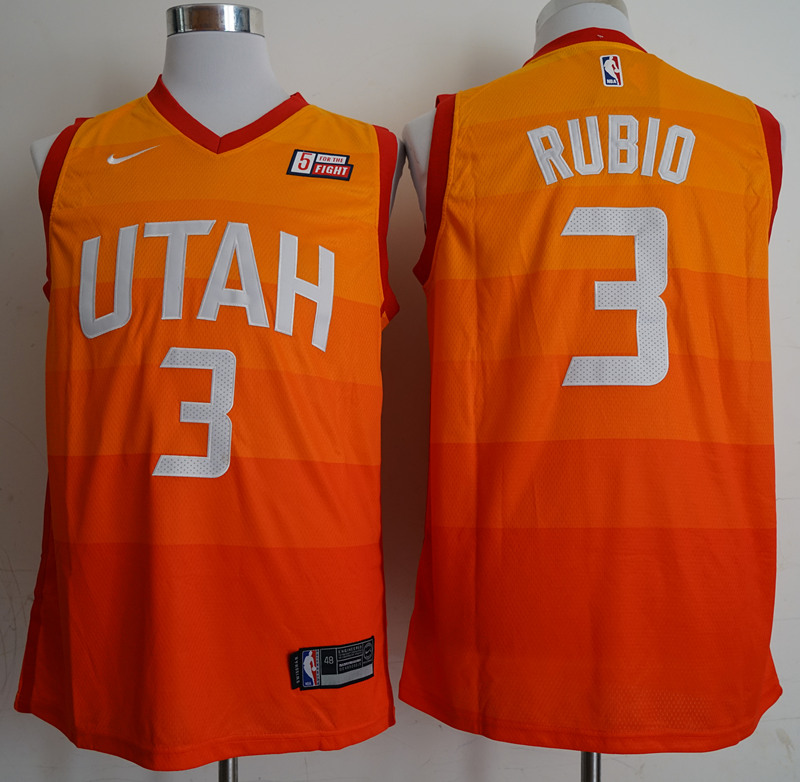 2018 Men NBA Utah Jazz 3 Rubio orange city edition Jerseys