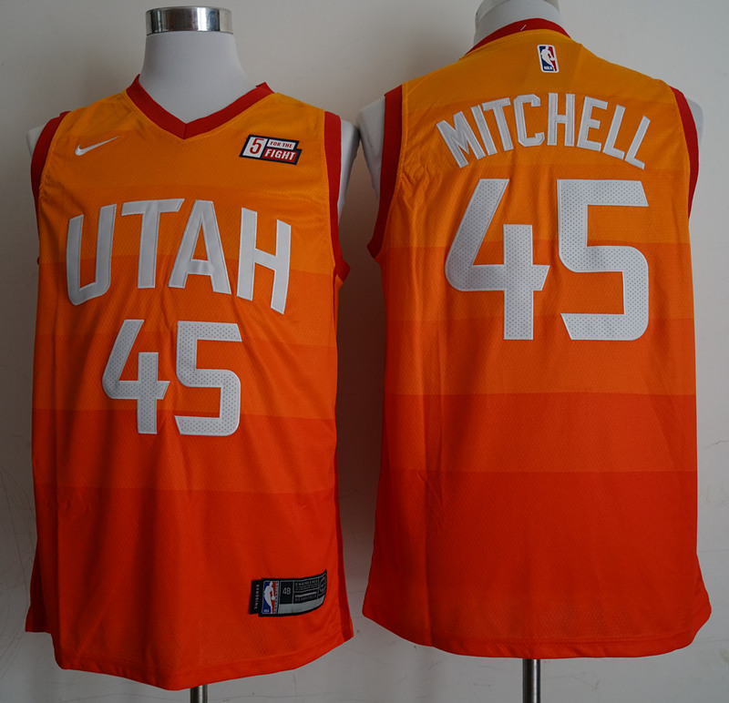 2018 Men NBA Utah Jazz 45 Mitchell orange city edition Jerseys